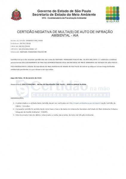 Certidão Negativa Ambiental Estadual (Multa de Auto de Infração Ambiental - AIA)