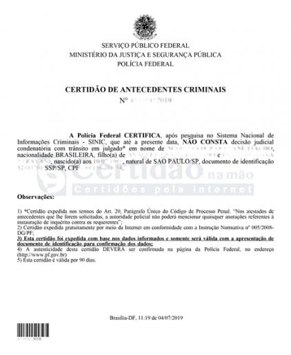 Certidão de Antecedentes Criminais - Polícia Federal