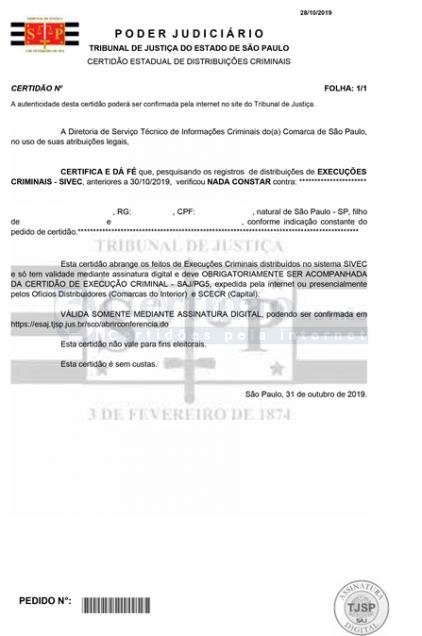 Certidão Negativa de Execução Criminal - DECRIM (Grande ABC e Grande SP)