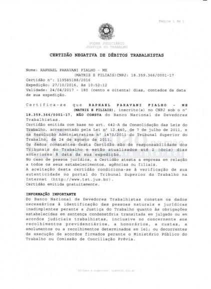 Certidão Negativa de Débitos Trabalhistas - CNDT