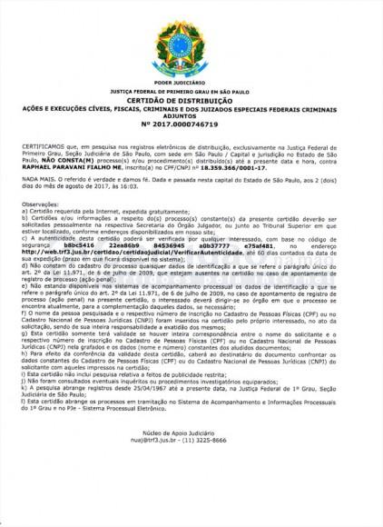 Certidão Negativa da Justiça Federal (São Paulo - Estadual)