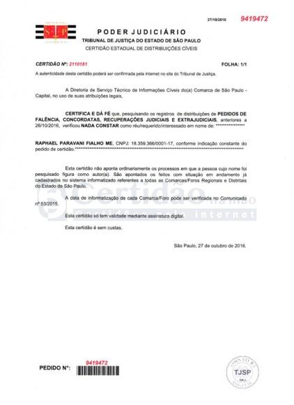Certidão Negativa de Falência e Concordata (Estadual - SP)
