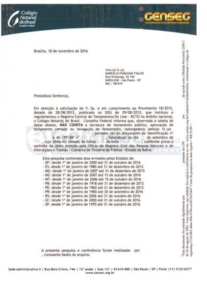 Certidão de Busca de Testamento do Colégio Notarial do Brasil - CNB