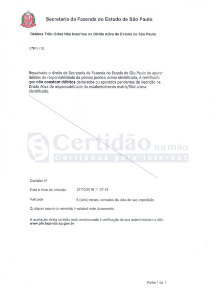 Certidão Negativa de Débitos Tributários do Estado de São Paulo para os Não Inscritos na Dívida Ativa