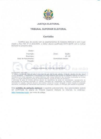 Certidão Negativa da Justiça Eleitoral (TSE - Tribunal Superior Eleitoral)