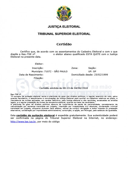 Certidão de Quitação Eleitoral (TSE - Tribunal Superior Eleitoral)