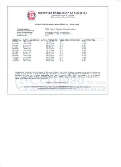 Certidão de Recolhimento de Taxa de Resíduos Sólidos TRSD/TRSS