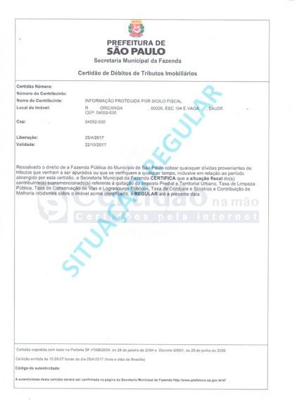 Certidão Negativa de Débitos de IPTU