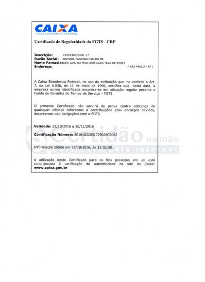 Certidão Negativa do FGTS (CRF do FGTS)