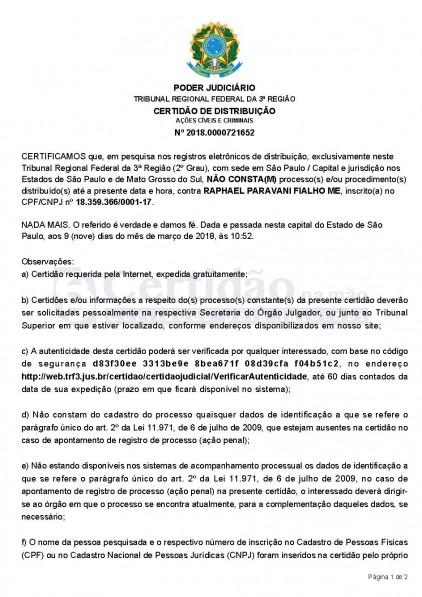 Certidão Negativa da Justiça Federal (São Paulo - Estadual) - 2ª Instância