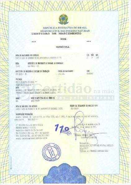 2ª via de Certidão de Nascimento Atualizada