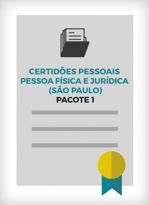 Certidões Pessoais Pessoa Física e Jurídica - Pacote 1 (Cidade de SP)