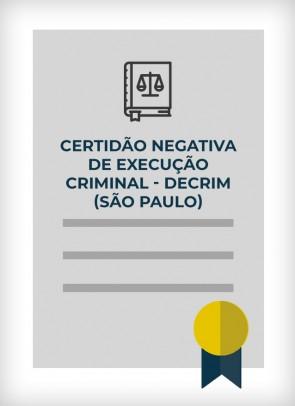 Certidão Negativa de Execução Criminal - SIVEC DECRIM